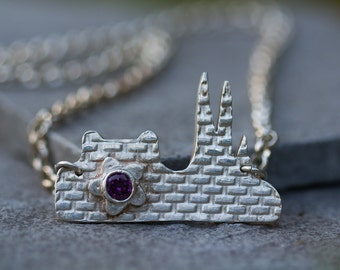 "Silver Necklace skyline of ""Uppsala"" with Purple Cubic Zirconia"