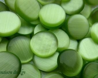 Cabochons 12mm aniseed green cat's eye glass x 10 PCs