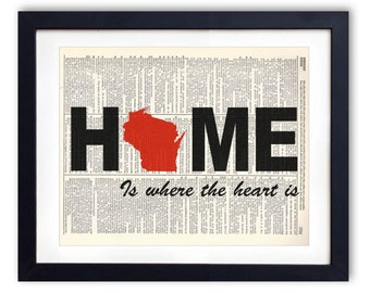 Wisconsin Home Is Where The Heart Is Upcycled Dictionary Art Print Repurposed Book Print Recycled Antique Dictionary Page - Buy 2 Get 1 FREE