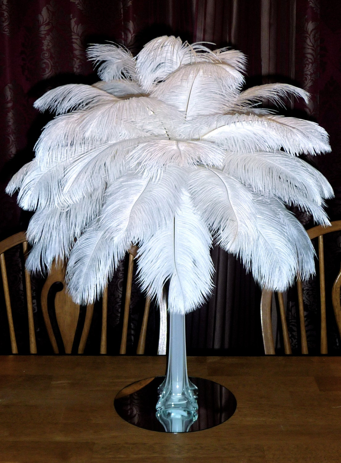 Ostrich feather centerpiece inch eiffel tower