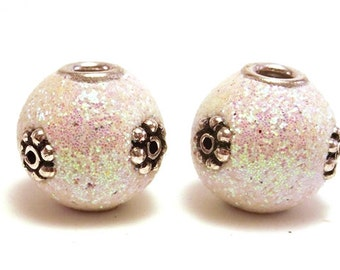 2 White Glitter Beads, 13mm Handmade Focal Bead, White Beads, Slider Beads, Unique Beads, Ornate Bead, Decorative Bead, Large Hole Beads