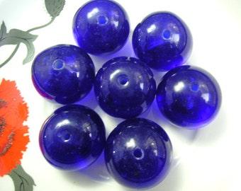 7 Large Vintage Peking Glass Beads, Cobalt Blue 25mm