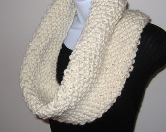 Chunky Hand Knit Cowl Scarf - Hand Knitted Cowl, Winter White Hand Knitted Scarf, Circle Scarf, Chunky Snood Scarf, Winter Scarf