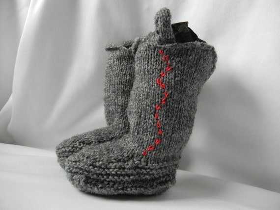 Hand Knit Booties Baby Cowboy by Clickmaster on Etsy