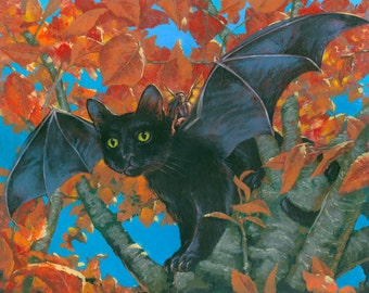 "The Bat Cat, Flying Fairy Cat, Fairy with cat, Fantasy Cat 8""x10"" Fine Art PRINT"
