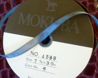 Vintage old stock unused roll of Mokuba silky iridescent ribbon #6 teal/magenta 30 meters or 32 yards by 7 mm Great deal!!