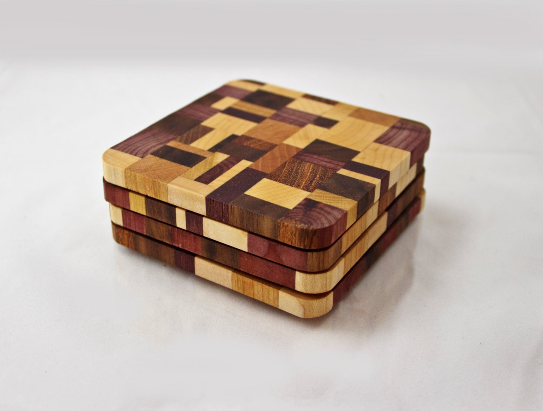Modern Wood Coasters End Grain Hardwoods Set Of 4