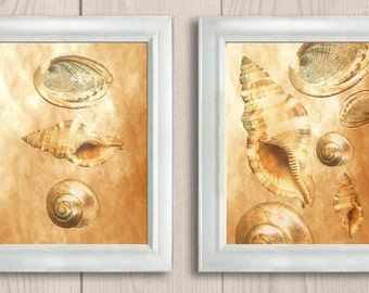 Sea Shell Print Beige Brown Sand Parchment Nautical Ocean Marine Set of 2 Art Prints Bathroom Print Home Wall Decor