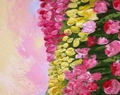 Acrylic Abstract Fine Art Painting  25x25cm Palette Knife Original Canvas Texture Gift Tulips Artwork By G. Tal