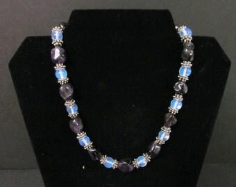 Bali Sterling Silver, Amethyst, Moonstone Bead Necklace
