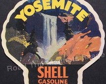 Shell Gasoline 1920s Travel Decal Magnet for YOSEMITE. Accurately Reproduced & hand cut in shape as designed. Nice Travel Decal Art