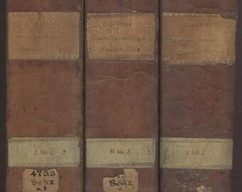 Scheller, Latein - Deutsch - Latein Lexicon, German - Latin - German Dictionary, 4th revised Edition 1820 by Lunemann, Complete in 3 volumes