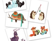 Holiday Cards 5-pack - Woodland Creatures