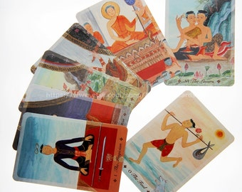 Thai Tarot Deck in traditional Siamese drawing style