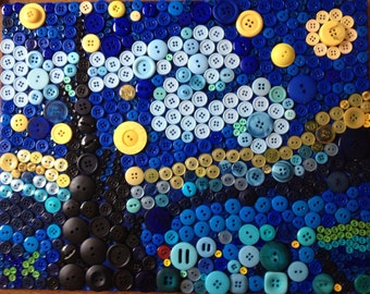 Button Van Gogh's Starry Night