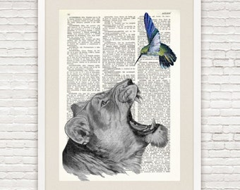 LION and BIRD printed on Repurposed Vintage Dictionary page, Upcycled Book Print, Safari animal home decor, Old book wall art, collage, #040