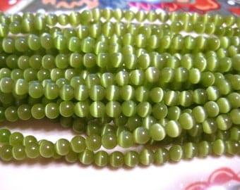 1 strand Green Cat's Eye Glass Beads 4mm Round