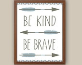 Baby Boy Nursery Art - Tribal Nursery Art - Tribal Pattern - Be Brave Quote - Blue And Gray Nursery - Kids Tribal Arrows