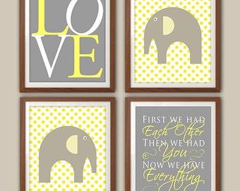 Elephant Nursery Art Set - Chevron Nursery - Nursery Quote - Elephant Nursery Decor - Gray And Yellow Nursery Art - Set Of Four Prints