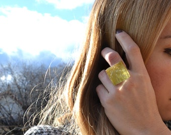 sale sale sale, GOLD SQUARE, elegant, unique ring with glass, STATEMENT ring, coctail ring