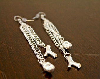 Silver Beach Dangle Earrings made from Recycled Materials