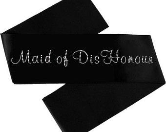 Maid of Dishonour Satin Sash With Crystals