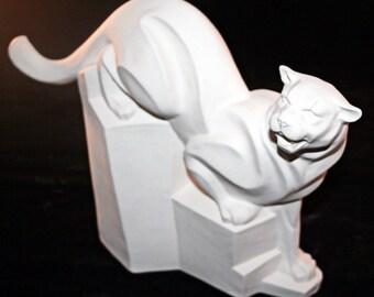 Ceramic Stone Cut Cougar (Unpainted Bisque)