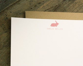 Personalized Rabbit Stationary - Baby Kids Flat Stationery - Set of 20