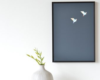 Origami Bird Pair Art Print