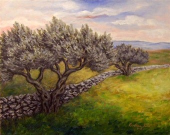 Original Landscape Painting, Olive Tree Painting, Acrylic on Canvas,Tree Painting