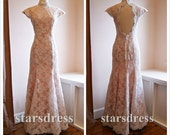 Vintage Lace Dresses Collection High Neck Lace Floor-length Open Back Lace Evening Dresses Prom Gowns