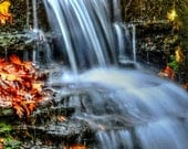 Digital Download - Autumn Waterfall - Landscape Photography - Color Photography - Nature Photography