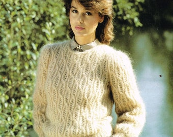 Sunbeam 715 mohair style jumper  vintage knitting pattern PDF instant download