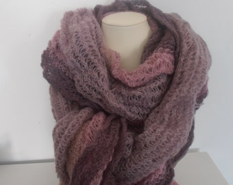 Winter Wool Blend Ruffle Light Rose/Plum/Taupe Ombre Scarf Gradient Shawl Knitt Scarf for Women and Girls