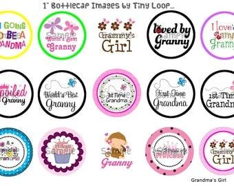 "15 Grandma's Girl Bottlecap Images 1"" Circle 4x6 Instant Download"