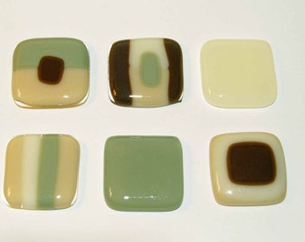6 Brown and Green Abstract Handmade Fused Glass Magnets