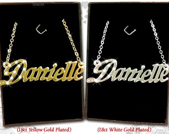 Name Necklace Danielle - 18K Gold Plated, Czech Rhinestones