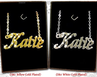 Name Necklace Katie  - 18K Gold Plated, Czech Rhinestones