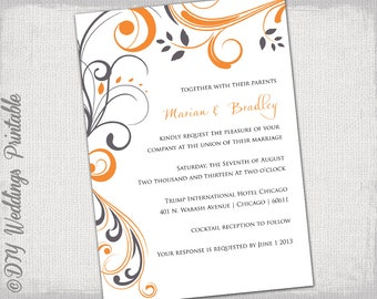 "Printable Wedding invitation template Orange and gray ""Scroll"" invitations YOU EDIT invite Tangerine & Charcoal gray digital download"