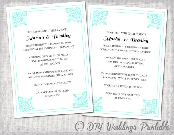 Wedding Invitations Turquoise: Turquoise Wedding Invitation Template Traditional Printable