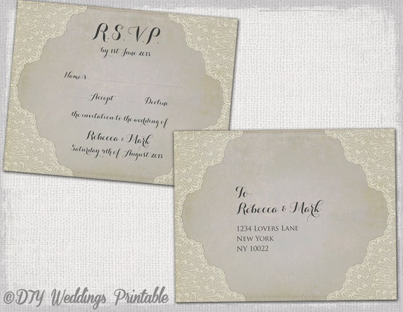 wordtemplate lace wedding response card
