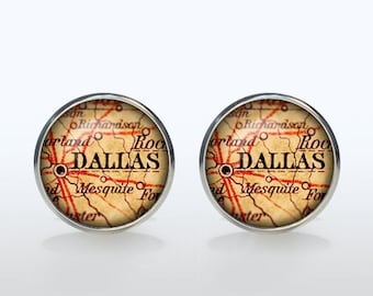 Dallas map Cufflinks Silver plated Dallas vintage map Cuff links men and women Accessories Antique black brown red green