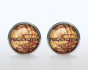 Philadelphia map Cufflinks Silver plated Philadelphia vintage map Cuff links men and women Accessories Antique black brown red green
