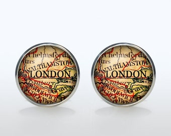 London map Cufflinks Silver plated London vintage map Cuff links men and women Accessories Antique black brown red green