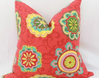 "Red, yellow, turquoise & green  floral indoor/outdoor throw pillow cover. 18"" x 18"". toss pillow."