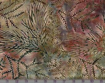 Fresh Water Java Batiks Green Mauve Leaf Batik Fabric by the Yard GALJABJBSG1-0012