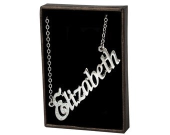 Name Necklace Elizabeth - White Gold Plated 18ct Personalised Necklace with Czech Crystals