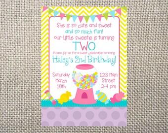 PRINTED or DIGITAL Chevron Candy Sweet Shoppe Birthday Invitations 5x7 Customized Bubblegum Invites Design 0.82 each