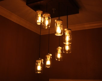 """The """"Spiral"""" Mason Jar Chandelier with Wooden Canopy"""