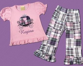 Girl's Princess Shirt with Embroidered Name and Matching Ruffle Pants - M20